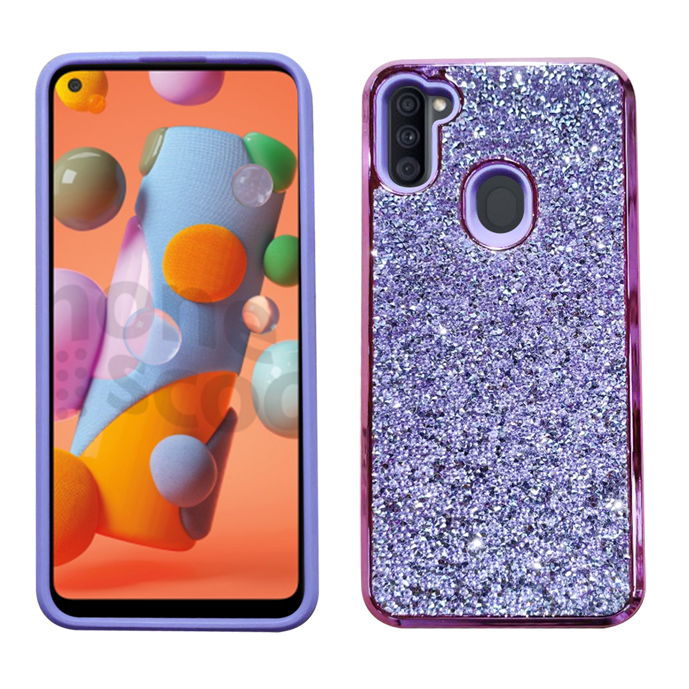 Samsung A11 Diamond Fleck Bling - Purple