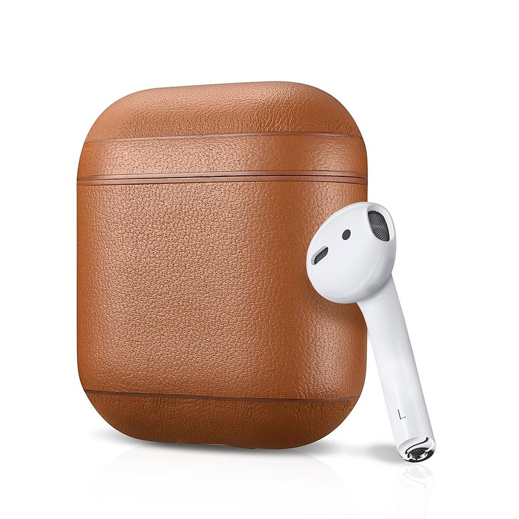 AirPod 1/2 Series Fit - Leather Cover - Tan