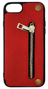 iPhone 6/7/8 Fit Zipper Wallet - Red Canvas