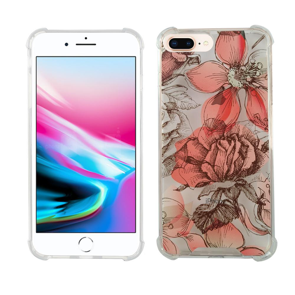 iPhone 6/7/8 PLUS Fit TPU & Acyrlic - Red Flowers