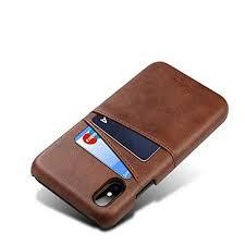 iPhone X Leather Credit Card Case - Brown