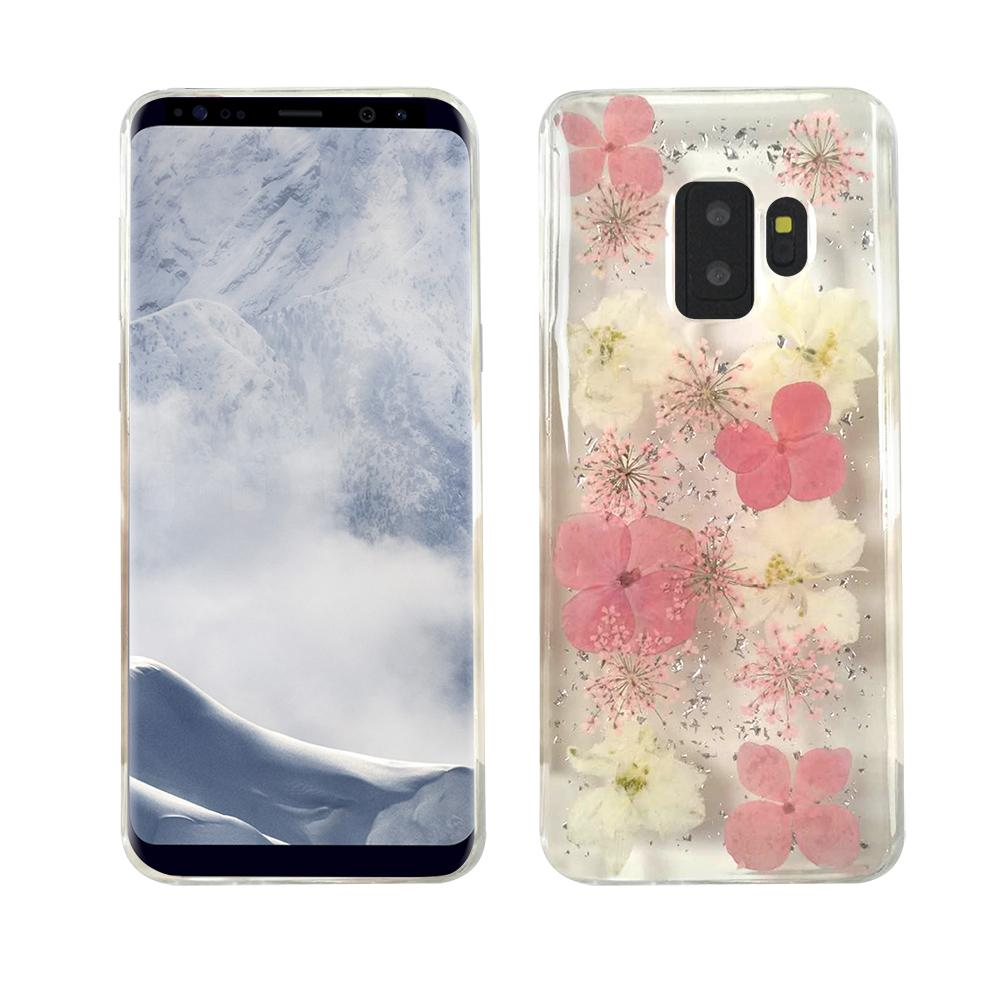 Samsung Galaxy S9- Real Flower - White/Pink